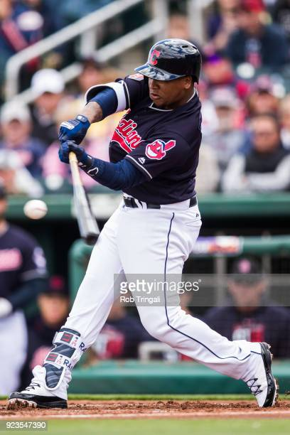 Jose Ramirez of the Cleveland Indians bats in the first inning against the Cincinnati Reds during a Spring Training Game at Goodyear Ballpark on...