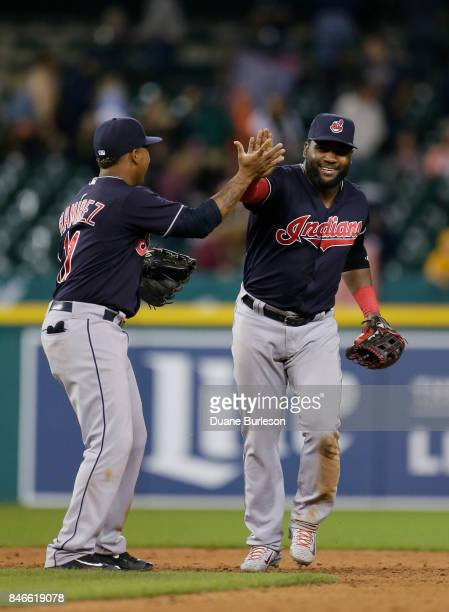 Jose Ramirez of the Cleveland Indians celebrates with Abraham Almonte of the Cleveland Indians after a win over the Detroit Tigers at Comerica Park...