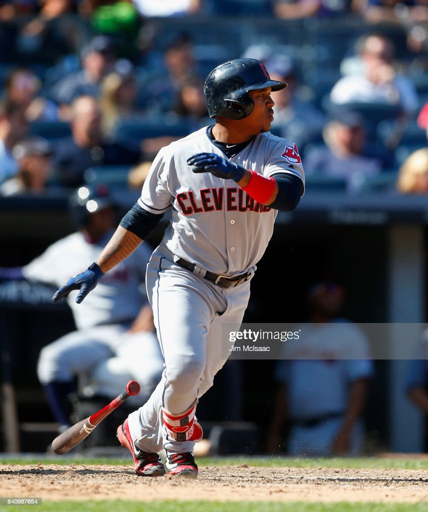 Jose Ramirez #11 of the Cleveland Indians doubles in the eighth inning against the New York Yankees in the first game of a doubleheader at Yankee Stadium on August 30, 2017 in the Bronx borough of New York City.