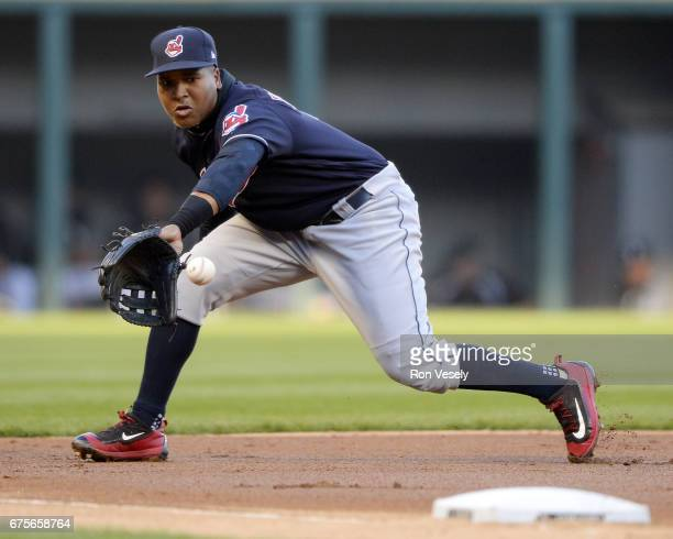 Jose Ramirez of the Cleveland Indians fields a ground ball during the game against the Chicago White Sox on April 22 2017 at Guaranteed Rate Field in...