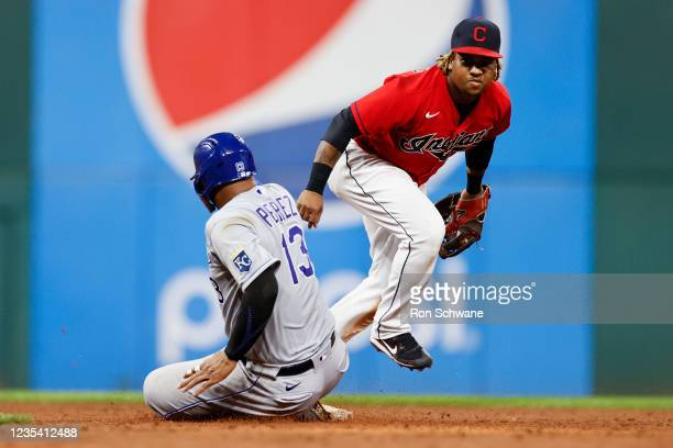 Jose Ramirez of the Cleveland Indians forces out Salvador Perez of the Kansas City Royals as second base during the sixth inning at Progressive Field...