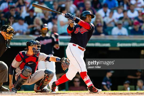 Jose Ramirez of the Cleveland Indians hits a solo home run during the fourth inning against the Minnesota Twins at Progressive Field on June 24 2017...