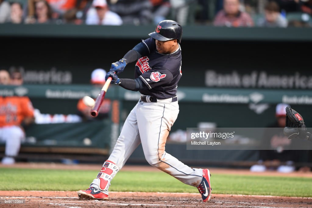Jose Ramirez #11 of the Cleveland Indians hits a solo home run in the sixth inning during a baseball game against the Baltimore Orioles at Oriole Park at Camden Yards on April 21, 2018 in Baltimore, Maryland.