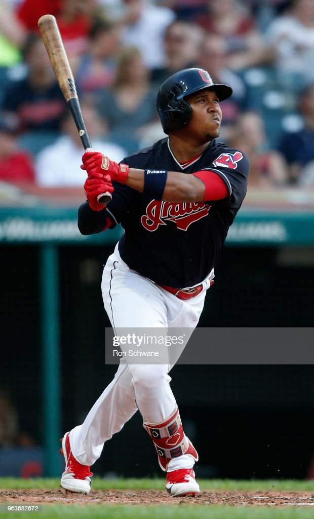 Jose Ramirez #11 of the Cleveland Indians hits a solo home run off of Lucas Giolito of the Chicago White Sox during the fifth inning at Progressive Field on May 29, 2018 in Cleveland, Ohio. The Indians defeated the White Sox 7-3.