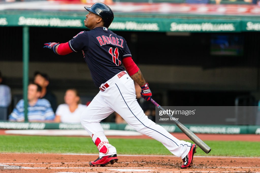 Jose Ramirez #11 of the Cleveland Indians hits a two run home run during the first inning against the San Diego Padres at Progressive Field on JULY 6, 2017 in Cleveland, Ohio.