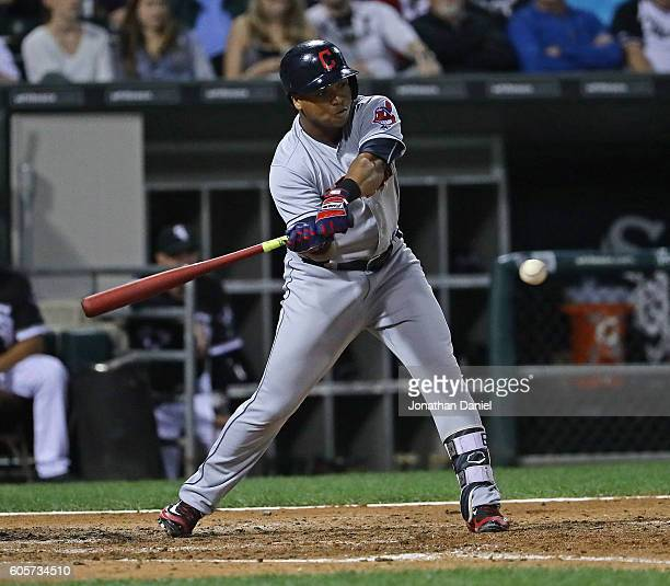 Jose Ramirez of the Cleveland Indians hits a two run triple in the 4th inning against the Chicago White Sox at US Cellular Field on September 14 2016...