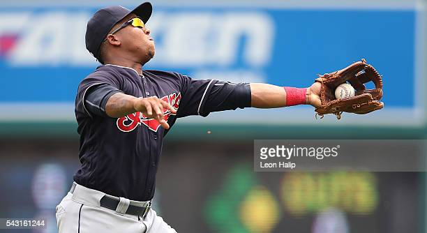 Jose Ramirez of the Cleveland Indians makes the running catch on the pop fly from Justin Upton during the fourth inning of the game on June 26, 2016...
