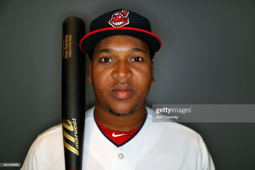 Jose Ramirez #11 of the Cleveland Indians poses during Photo Day on Wednesday, February 21, 2018 at Goodyear Ballpark in Goodyear, Arizona.