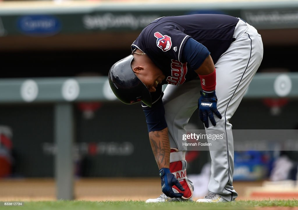 Jose Ramirez #11 of the Cleveland Indians reacts to being hit by a pitch thrown by Kyle Gibson #44 of the Minnesota Twins during the second inning of the game on August 17, 2017 at Target Field in Minneapolis, Minnesota.