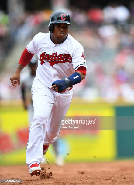 Jose Ramirez of the Cleveland Indians runs to third base during the game against the Chicago White Sox at Progressive Field on Wednesday May 30 2018...