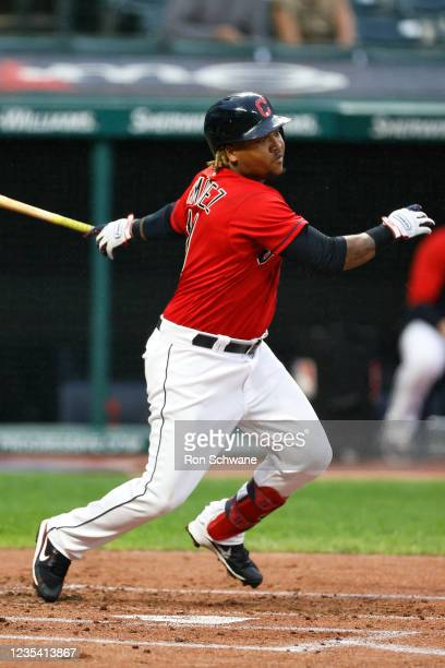 Jose Ramirez of the Cleveland Indians singles off Daniel Lynch of the Kansas City Royals during the first inning at Progressive Field on September...