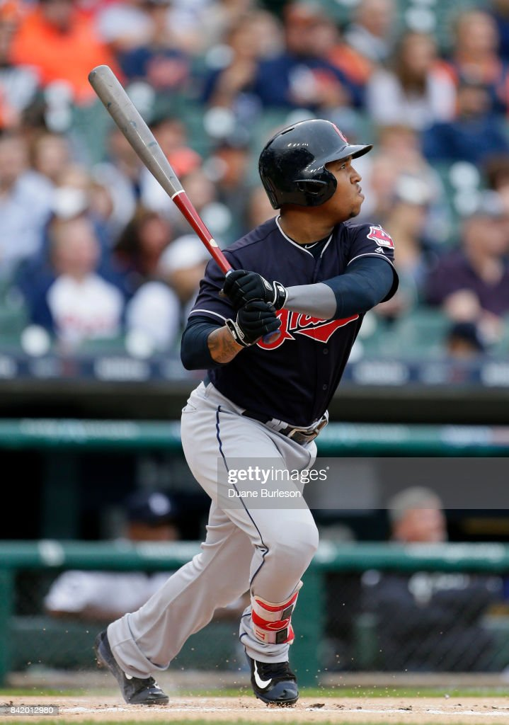 Jose Ramirez #11 of the Cleveland Indians triples to drive in Bradley Zimmer of the Cleveland Indians during the first inning at Comerica Park on September 2, 2017 in Detroit, Michigan. The Indians defeated the Tigers 5-2.