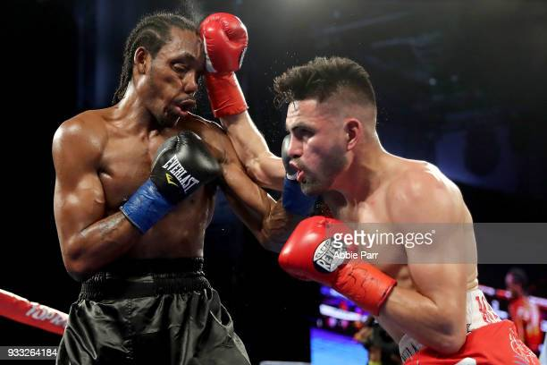 Jose Ramirez punches Amir Imam during their WBC junior welterweight fight at The Theatre at Madison Square Garden on March 17, 2018 in New York City.