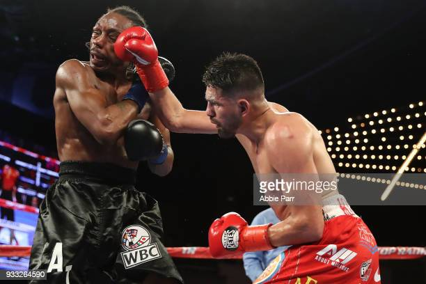 Jose Ramirez punches Amir Imam during their WBC junior welterweight fight at The Theatre at Madison Square Garden on March 17 2018 in New York City