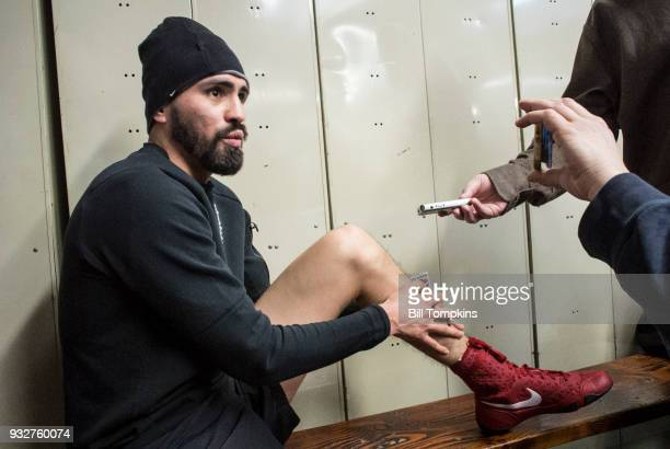 Jose Ramirez speaks to the Press in preparation for his Super Lightweight title fight against Amir Imam at Mendez Boxing NYC on March 14, 2018 in New...