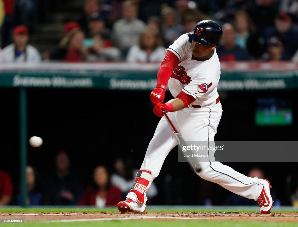 Jose Ramirez #11of the Cleveland Indians its an RBI groundout to score Francisco Lindor #12 (not pictured) against the Baltimore Orioles in the first inning at Progressive Field on September 10, 2017 in Cleveland, Ohio.