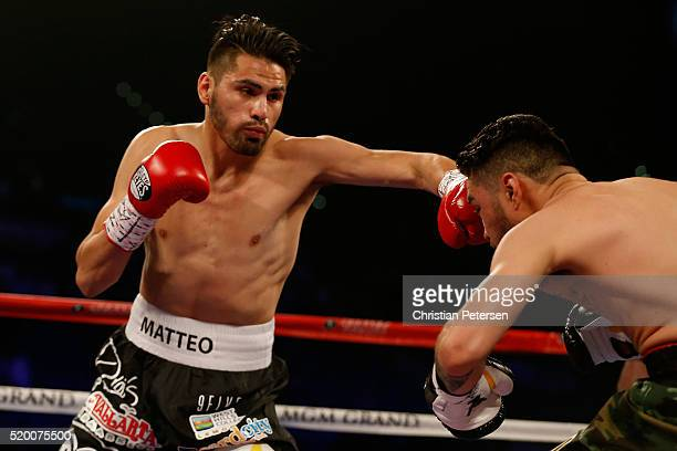 Jose Ramirez throws a left at Manny Perez during their super lightweight fight on April 9, 2016 at MGM Grand Garden Arena in Las Vegas, Nevada....