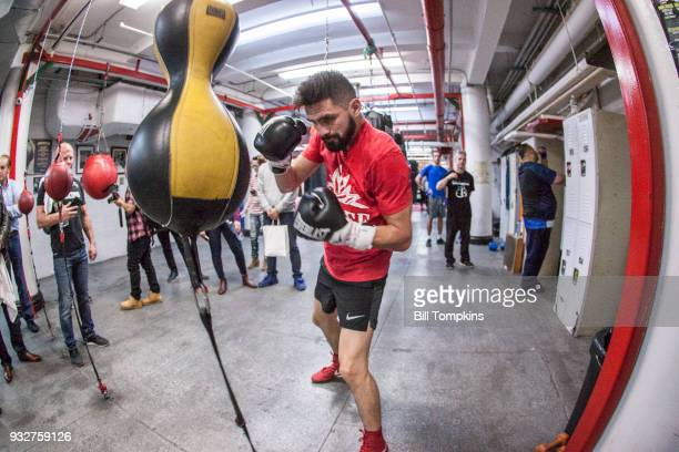 Jose Ramirez works out in preparation for his Super Lightweight title fight against Amir Imam at Mendez Boxing NYC on March 14, 2018 in New York City.
