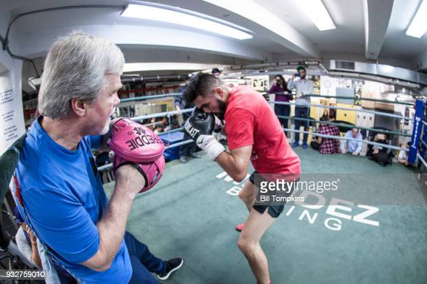 Jose Ramirez works out with trainer Freddie Roach in preparation for his Super Lightweight title fight against Amir Imam at Mendez Boxing NYC on...