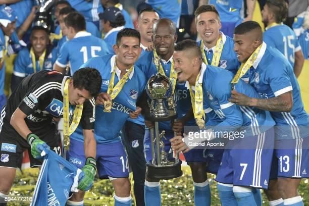 Jose Ramiro Sanchez David Macalister Silva Anier Figueroa Ayron del Valle Henry Rojas Harold Santiago Mosquera of Millonarios celebrate with the...