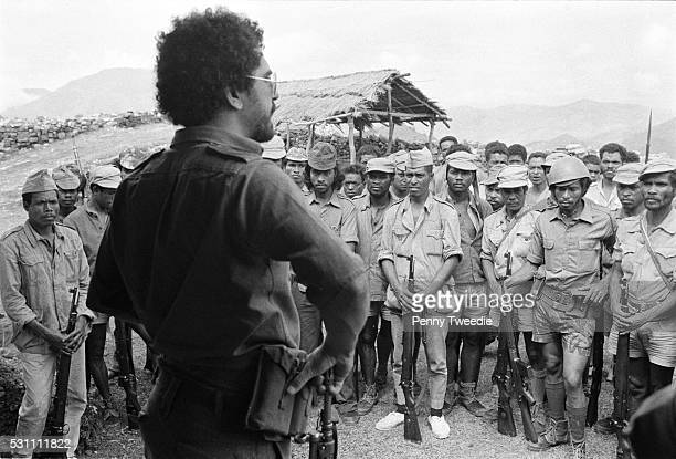 Jose RamosHorta age 25 talks to and encourages Fretilin freedom fighters in the remote mountains of East Timor between Lesbos and Maliana 4th October...