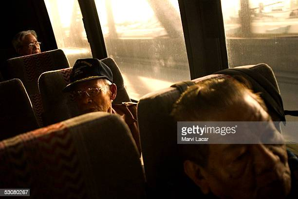 Jose Recto sits on a bus headed to a northern California casino May 5 2005 near San Francisco Like many Filipino WWII veterans he lives in the US...