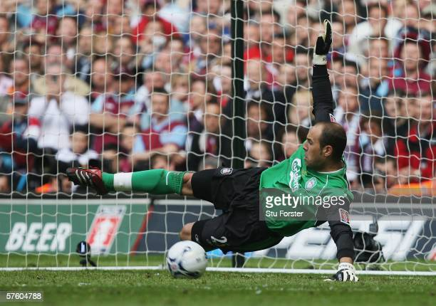Jose Reina the Liverpool goalkeeper saves penalty and ensures victory in the FA Cup Final match between Liverpool and West Ham United at the...