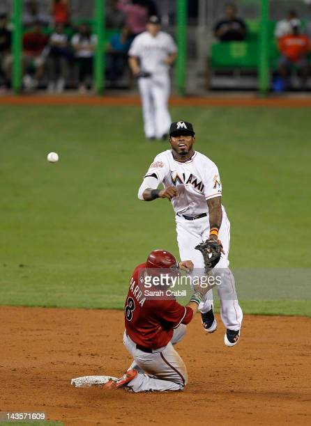 Jose Reyes of the Miami Marlins makes the force out at second under the slide of Gerardo Parra of the Arizona Diamondbacks during a game at Marlins...
