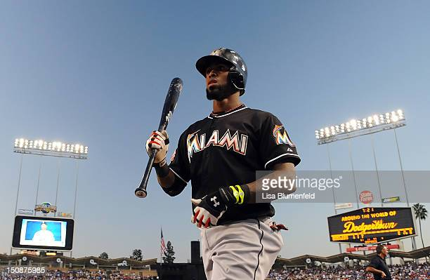 Jose Reyes of the Miami Marlins prepares to bat against the Los Angeles Dodgers at Dodger Stadium on August 25 2012 in Los Angeles California