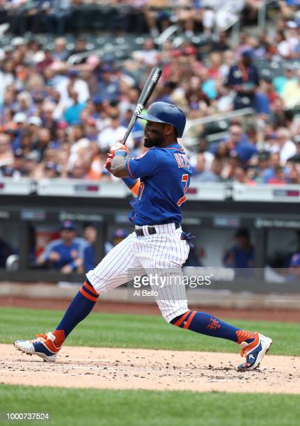 Jose Reyes of the New York Mets bats against the Washington Nationals during their game at Citi Field on July 15 2018 in New York City