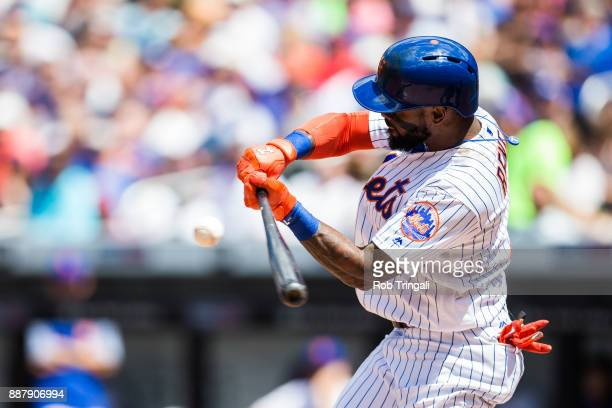 Jose Reyes of the New York Mets bats during the game against the Milwaukee Brewers at Citi Field on Thursday June 1 2017 in the Queens borough of New...
