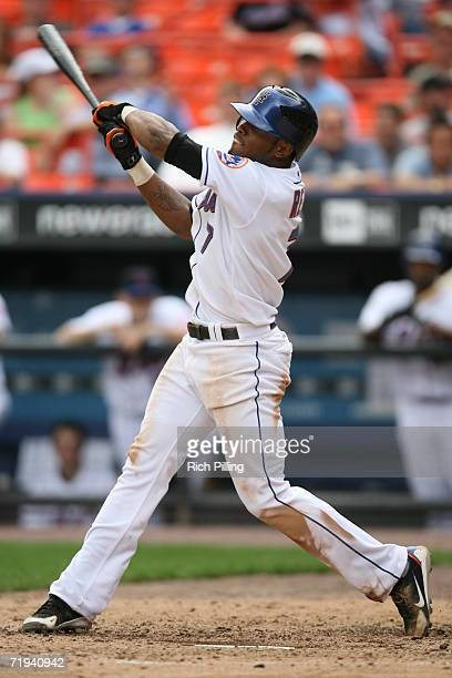 Jose Reyes of the New York Mets batting during the first game of a double header against the Atlanta Braves at Shea Stadium in Flushing, New York on...