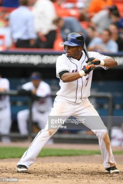 Jose Reyes of the New York Mets batting during the first game of a double header against the Atlanta Braves at Shea Stadium in Flushing New York on...