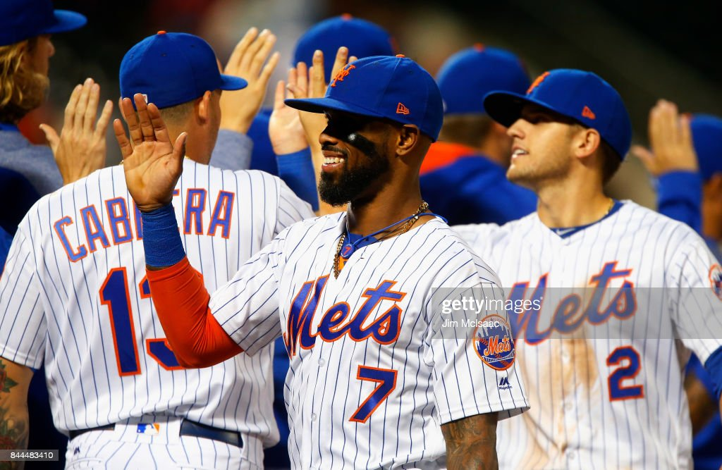 Jose Reyes #7 of the New York Mets celebrates with his teammates after defeating the Cincinnati Reds at Citi Field on September 8, 2017 in the Flushing neighborhood of the Queens borough of New York City.