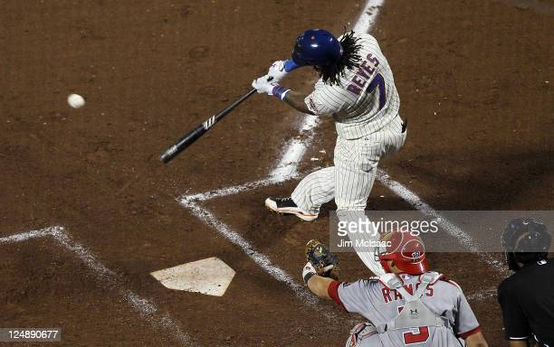 Jose Reyes of the New York Mets connects on a third inning single against the Washington Nationals at Citi Field on September 13 2011 in the Flushing...