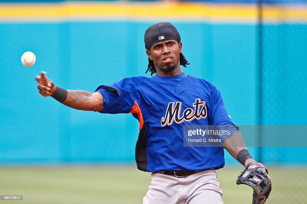 Jose Reyes #7 of the New York Mets during batting practice before a MLB game against the Florida Marlins in Sun Life Stadium on May 15, 2010 in Miami, Florida.