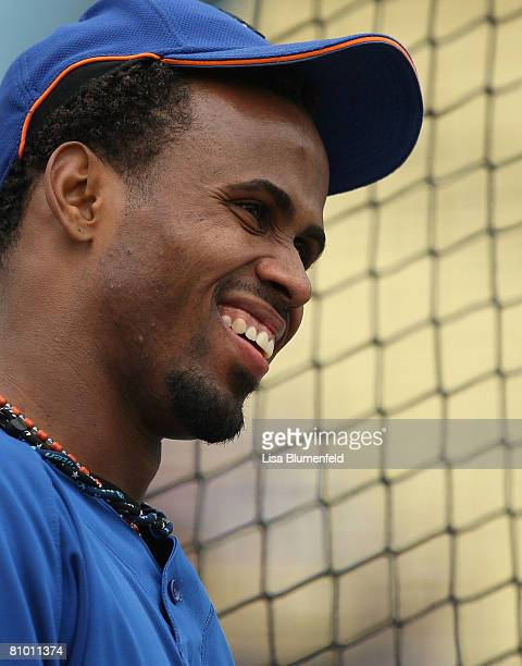 Jose Reyes of the New York Mets during batting practice before the game against the Los Angeles Dodgers at Dodger Stadium on May 6 2008 in Los...