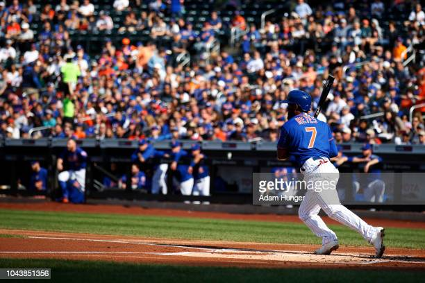 Jose Reyes of the New York Mets grounds out during the first inning against the Miami Marlins at Citi Field on September 30 2018 in the Flushing...