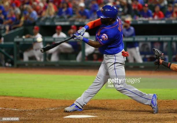 Jose Reyes of the New York Mets hits a single RBI in the ninth inning at Globe Life Park in Arlington on June 7 2017 in Arlington Texas