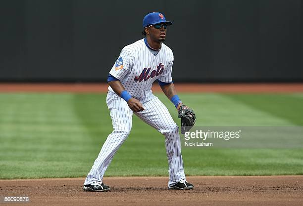 Jose Reyes of the New York Mets in the field against the Milwaukee Brewers at Citi Field on April 19 2009 in the Flushing neighborhood of the Queens...