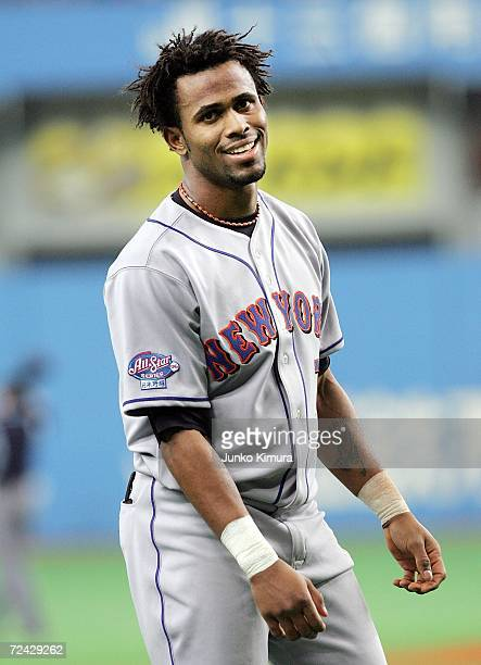 Jose Reyes of the New York Mets is seen during the Aeon All Star Series Day 4 MLB v Japan AllStars at the Kyocera Dome on November 7 2006 in Osaka...
