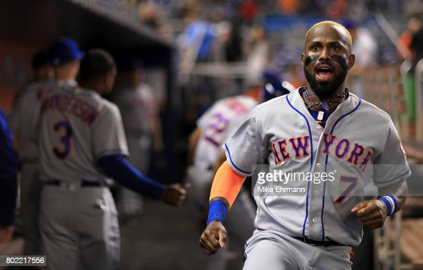 Jose Reyes of the New York Mets looks on during a game against the Miami Marlins at Marlins Park on June 27 2017 in Miami Florida