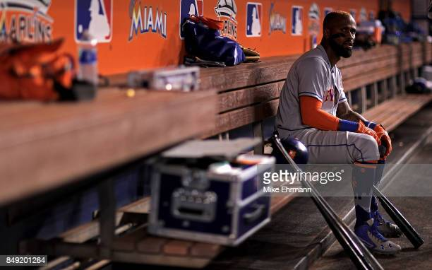 Jose Reyes of the New York Mets looks on during a game against the Miami Marlins at Marlins Park on September 18 2017 in Miami Florida