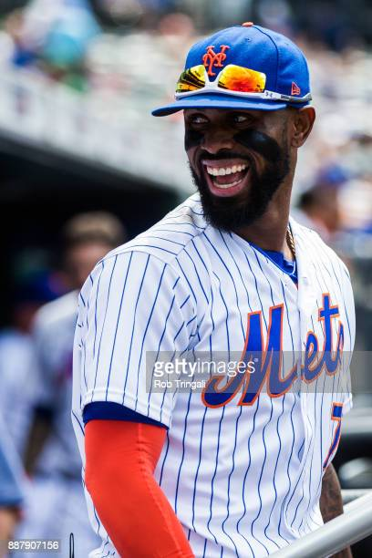 Jose Reyes of the New York Mets looks on during the game against the Milwaukee Brewers at Citi Field on Thursday June 1 2017 in the Queens borough of...