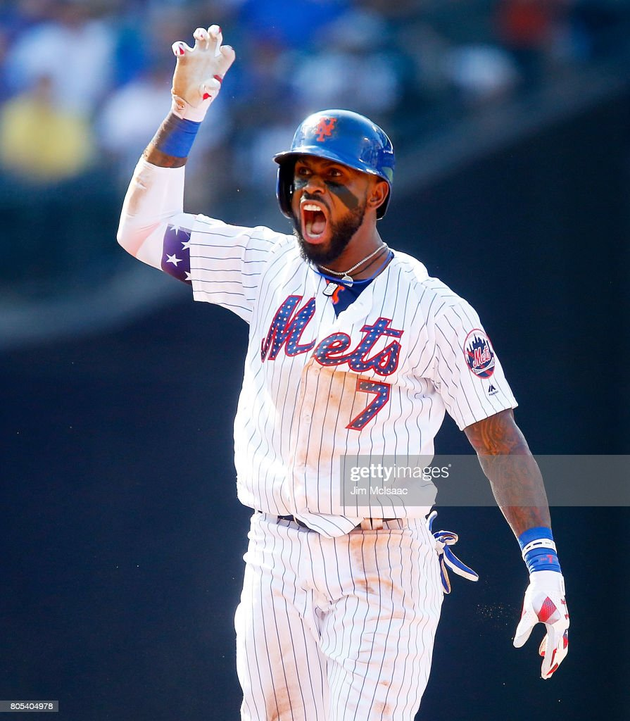 Jose Reyes #7 of the New York Mets reacts after his second inning RBI double against the Philadelphia Phillies at Citi Field on July 1, 2017 in the Flushing neighborhood of the Queens borough of New York City.