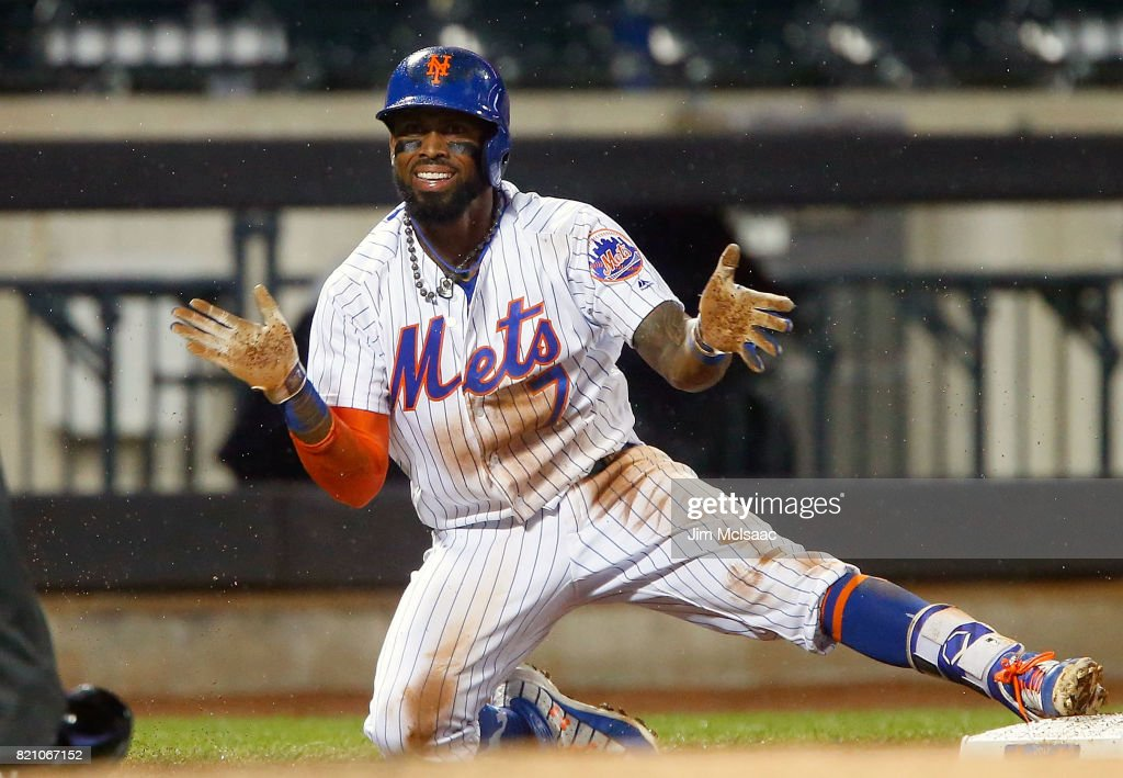 Jose Reyes #7 of the New York Mets reacts after his sixth inning triple against the Oakland Athletics at Citi Field on July 22, 2017 in the Flushing neighborhood of the Queens borough of New York City.