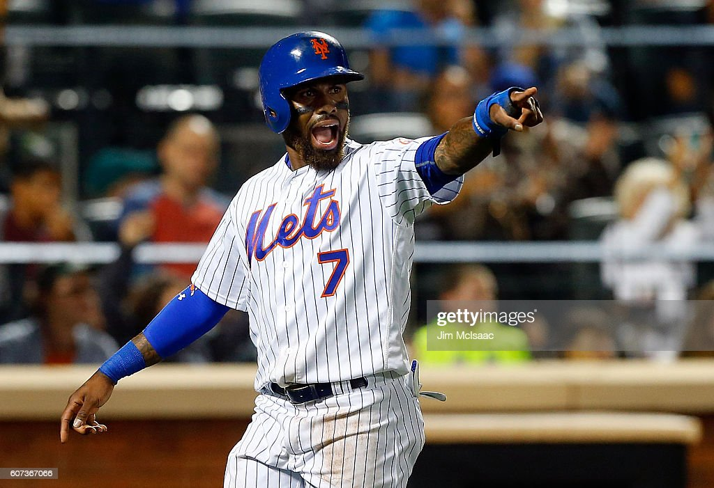 Jose Reyes #7 of the New York Mets reacts after scoring a game tying run in the eighth inning against the Minnesota Twins at Citi Field on September 17, 2016 in the Flushing neighborhood of the Queens borough of New York City.
