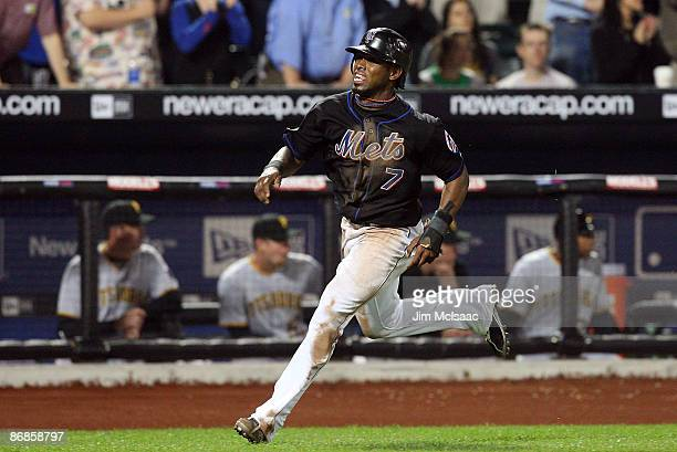 Jose Reyes of the New York Mets scores a run in the eighth inning against the Pittsburgh Pirates on May 8, 2009 at Citi Field in the Flushing...
