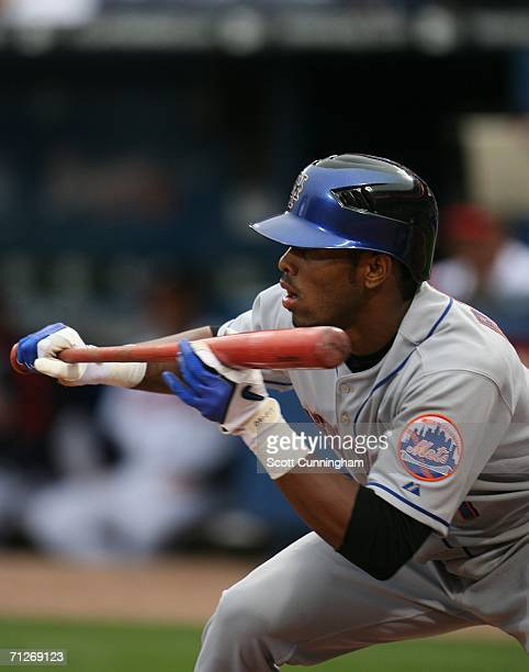 Jose Reyes of the New York Mets squares to bunt against the Atlanta Braves at Turner Field on April 29 2006 in Atlanta Georgia The Mets defeated the...