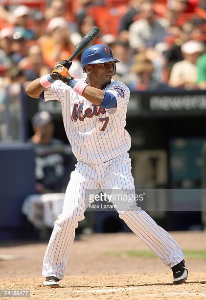 Jose Reyes of the New York Mets stands ready at bat during the Mothers Day game against the Milwaukee Brewers on May 13 2007 at Shea Stadium in the...